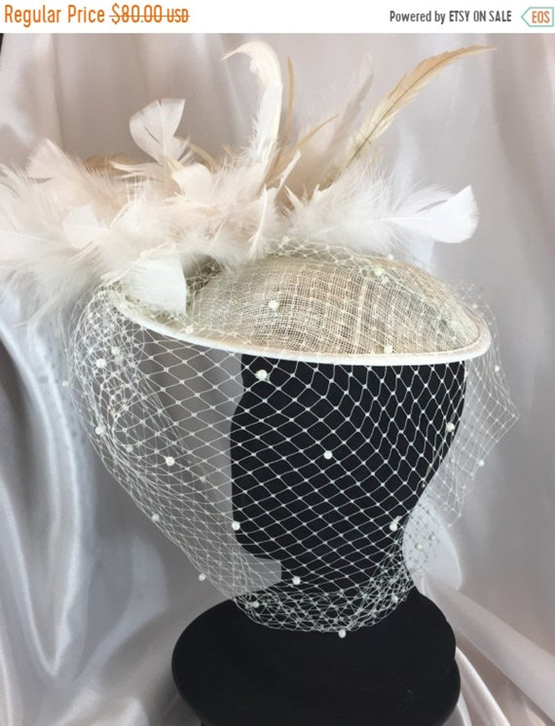 BIG Chelsea Bridal Hat Feather Hat Ivory Hat Pearl Veil image 1
