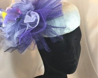 BIG The Barbara Hat, Pillbox,, Blue Pillbox,Fascinator, Silk Pillbox, Bridal Fascinator, Bridal Pillbox, Iris Fascinator Second Wedding,