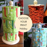 HOLIDAY UnPaper Towels with Snaps and Core - Choose Your Print and Terry Color!  - Premium or Rustic Edges