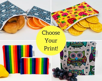 Sandwich and Snack Bags Zippered and Insulated - Choose your own Style and Size! - Name Personalization Available (Up to 8 Letters)