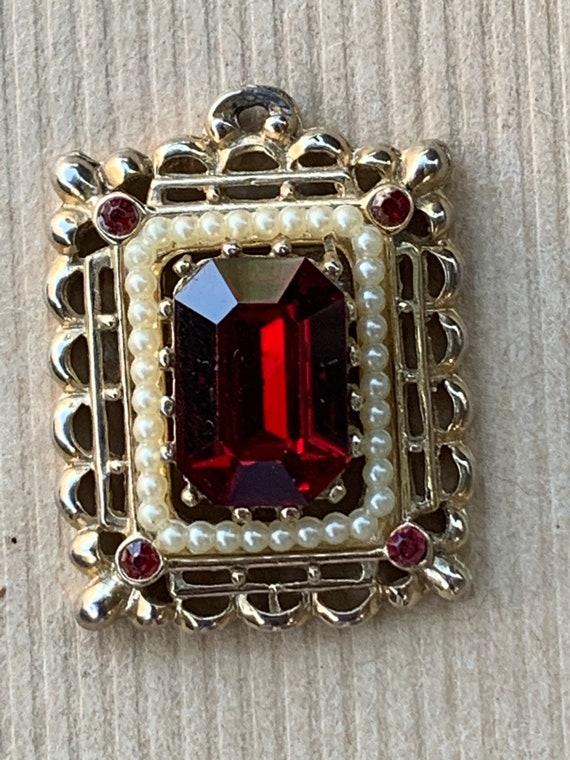 Vintage 1960s red rhinestone pendant - image 1
