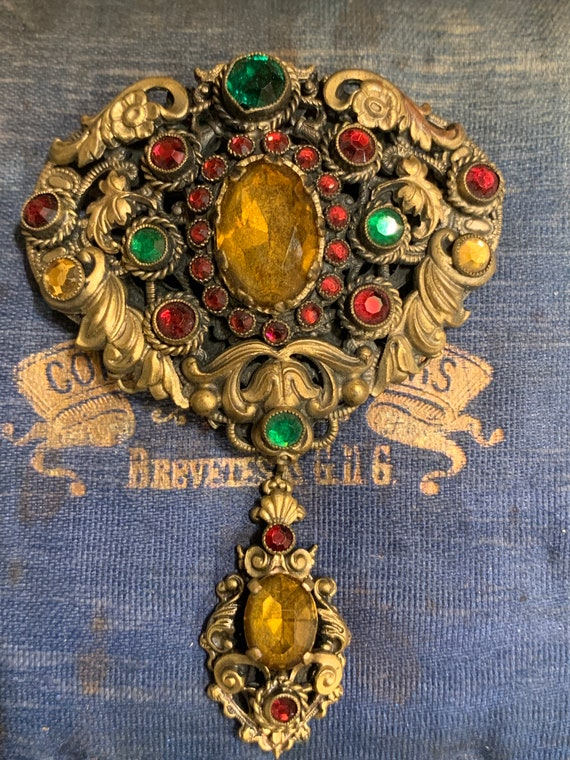 Antique Filagree paste brooch