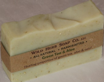 ORGANIC GREEN TEA Natural Soap + Oatmeal Exfoliant - Rich Lather, Excellent as Shampoo Bar - Made From Scratch by Cold Process - Wild Herb