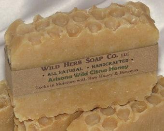 Citrus HONEY Soap + MANGO Butter! All Natural (Citrus Essential Oil Blend) Creamy Bar - Nut Free! AZ Wild Honey Citrus