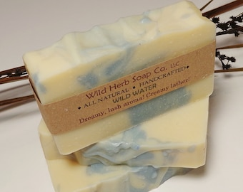 WILD WATER Natural Soap Bar with Essential Oils, Mango Butter & More by Wild Herb Soap - Old Fashioned Soap Made From Scratch (Cold Process)