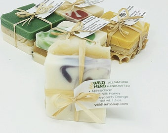 Organic Soap Set: Travel Size | Creamy, Rich Lather | Unique Gift or Stocking Stuffer | Party Favor, Aromatherapy Bath Decoration, Tester