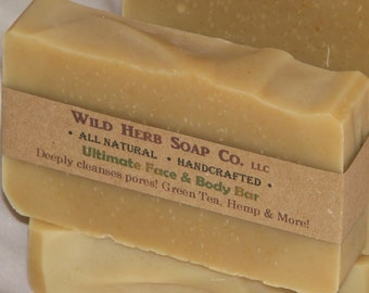 ULTIMATE! Soap Bar - All Natural Acne Aid with Green Tea, Aloe, Eucalyptus, More! Deep Cleanser of Pores ~ Powerful Organic Ingredients