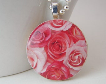 Roses Pendant with Free Shiny Ball Chain Necklace