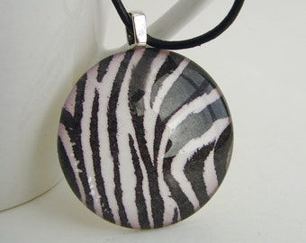 1.5 inch Zebra Print Pendant with Free Black Leather Cord Necklace