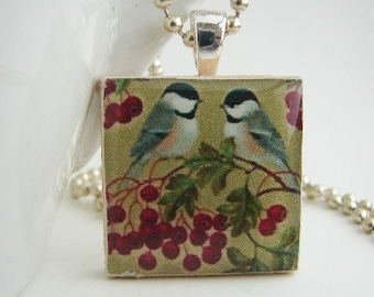 Birds and Berries Pendant with Free Necklace