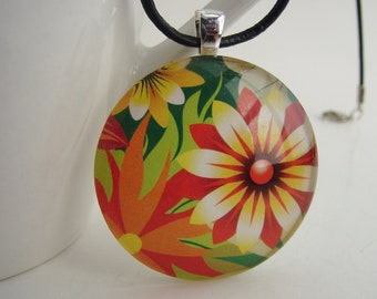1.5 Inch Bold Floral Pendant with Free Black Leather Cord Necklace