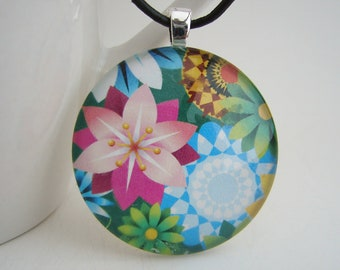 1.5 Bright Floral Pendant with Free Black Cord Necklace