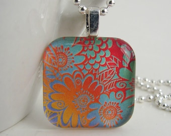 Fun Flowers Pendant with Free Necklace