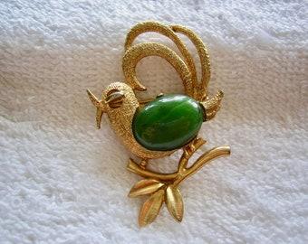 Vintage Bird and  Genuine Jade Stone Brooch Pendant Option
