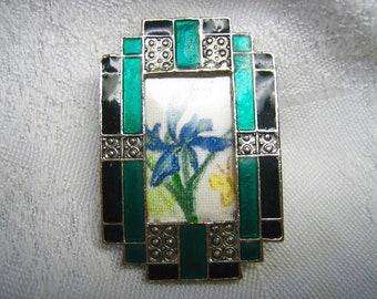 Vintage Hand Painted Art Deco Framed Iris Flower Brooch