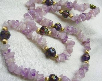 Vintage Chunky Amethyst & Lamp works Beaded Necklace