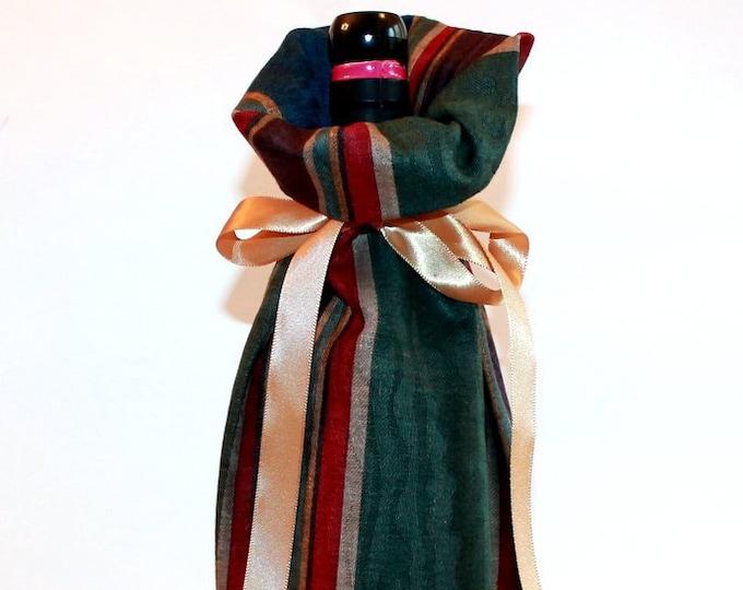 WINE GIFT BAG ~ Burgundy, Green, Blue Stripe ~ Sack ~ Tote ~ Bell Art Designs WB72