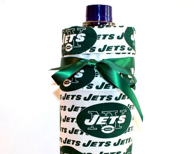 NEW YORK JETS Fabric Wine ~ Gift Bag ~ Sack ~ Tote ~ Bell Art Designs WB46