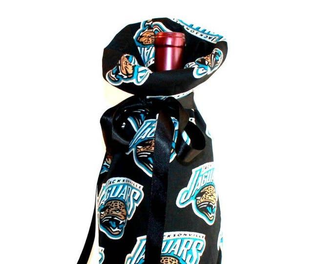 JACKSONVILLE JAGUARS Fabric Wine ~ Gift Bag ~ Sack ~ Tote ~ Bell Art Designs WB12