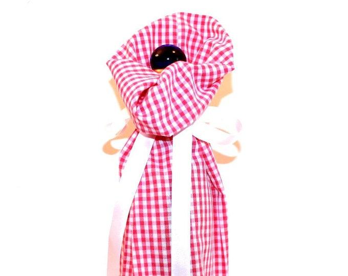 WINE BAG ~ Pink Gingham ~ Sack ~ Tote ~ Bell Art Designs WB48