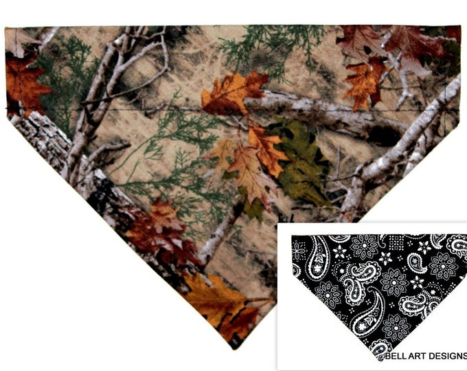 Hunting, Camping, Trees ~ Over the Collar ~ Reversible ~ Dog Pet Bandana ~ Bell Art Designs ~ Medium ~ DCM0773