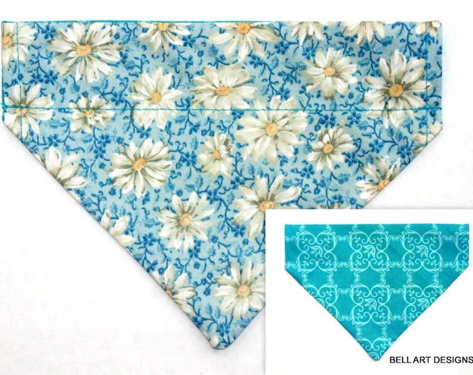 DOG BANDANA ~ Over the Collar ~ Reversible ~ Daisy ~ Bell Art Designs ~ Small 626