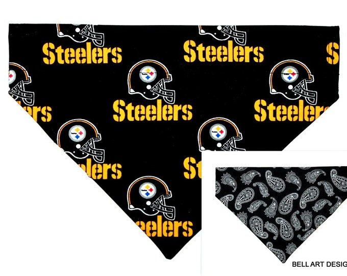 PITTSBURGH STEELERS ~ Over the Collar ~ Reversible ~ Dog Pet Bandana ~ Bell Art Designs ~ Large DCL625