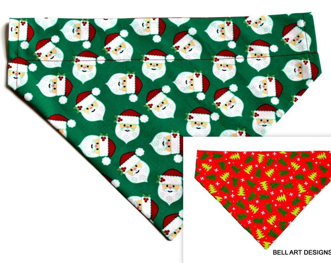 DOG BANDANA ~ Christmas, Santa, Trees ~ Over the Collar ~ Reversible ~ Bell Art Designs - Extra Large DCXL0209
