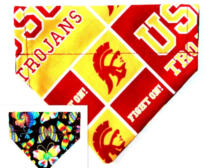 USC, Southern California, Over the Collar and Reversible ~ Dog Pet Bandana ~ Bell Art Designs ~ XXS259