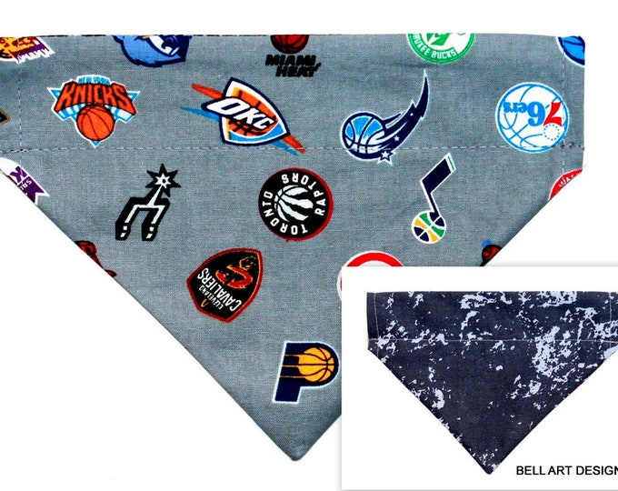 DOG BANDANA ~ Over the Collar ~ Reversible ~ NBA ~ Bell Art Designs ~ Small DCS593