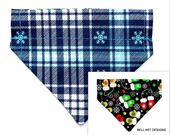 CHRISTMAS, MITTENS, PLAID ~ Over the Collar ~ Reversible ~ Dog Pet Bandana ~ Bell Art Designs ~ Extra Extra Small DCXXS147