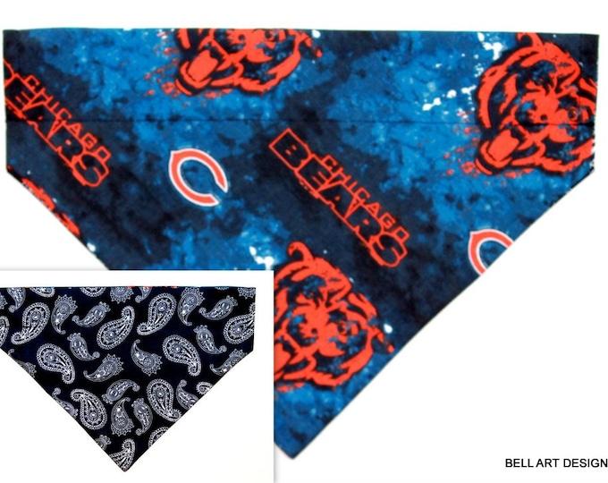 DOG BANDANA ~ Chicago Bears ~ Over the Collar ~ Reversible ~ Bell Art Designs ~ Large 764