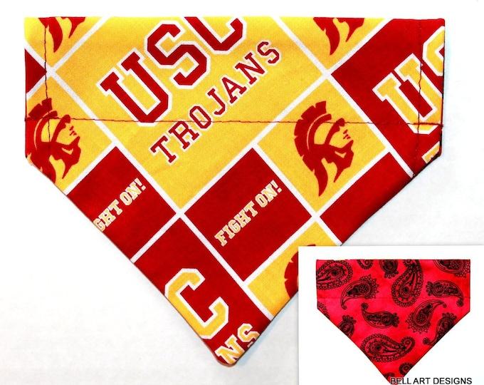 USC Trojans ~ Over the Collar ~ Reversible ~ Dog Pet Bandana ~ Bell Art Designs ~ EXTRA SMALL ~ DCXS524