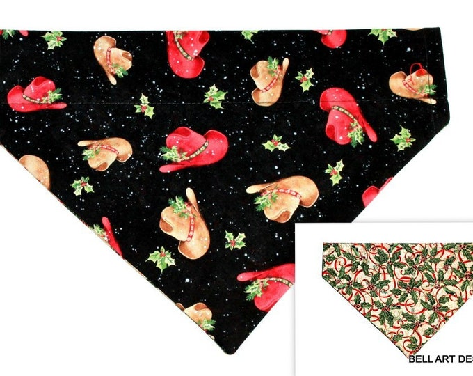 CHRISTMAS, COWBOY HATS, Holly ~ Over the Collar ~ Reversible ~ Dog Pet Bandana ~ Bell Art Designs