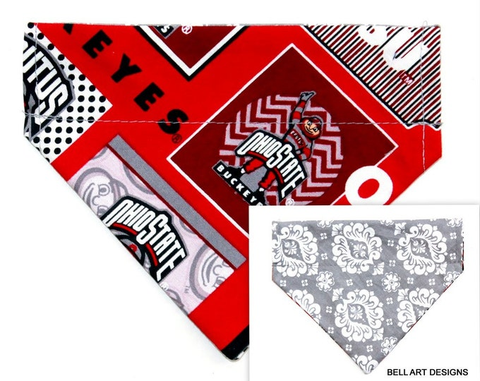 DOG BANDANA ~ Over the Collar ~ Reversible ~ Ohio, Buckeyes ~ Bell Art Designs ~ Extra Small 501