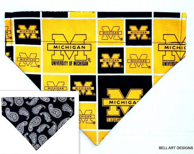 UNIVERSITY MICHIGAN , Over the Collar ~ Reversible ~ Dog Pet Bandana ~ Bell Art Designs ~ Medium 764