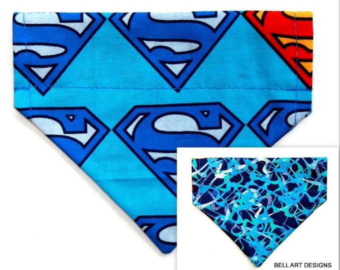 SUPERMAN ~ Over the Collar ~ Reversible ~ Dog Pet Bandana ~ Bell Art Designs ~ Extra Extra Small DCXXS202