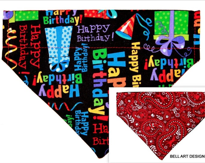 DOG BANDANA ~ Happy Birthday ~ Over the Collar ~ Reversible ~ Bell Art Designs ~ Medium ~ DCM0714
