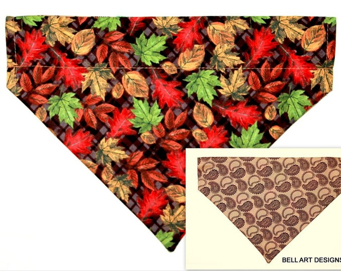 Fall Leaves, Paisley ~ Over the Collar ~ Reversible ~ Dog Pet Bandana ~ Bell Art Designs ~ Large DCL773