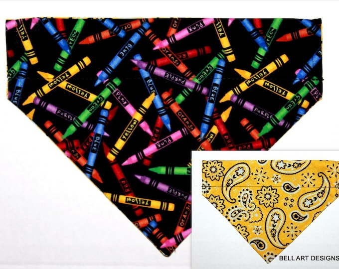 DOG BANDANA ~ Over the Collar ~ Reversible ~ Crayons, Teacher ~ Bell Art Designs ~ Medium ~ 769
