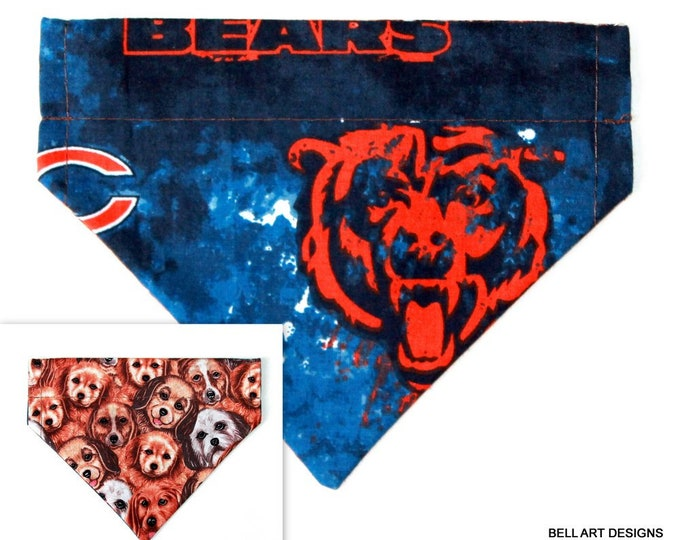 CHICAGO BEARS ~ Over the Collar ~ Reversible ~ Dog Pet Bandana ~ Bell Art Designs ~ Extra Small ~ DCXS0375