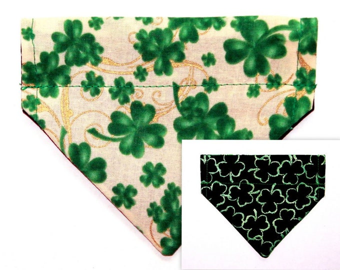 SHAMROCKS ~ Over the Collar ~ Reversible ~ Dog Pet Bandana ~ Bell Art Designs ~ Extra Extra Small DCXXS164