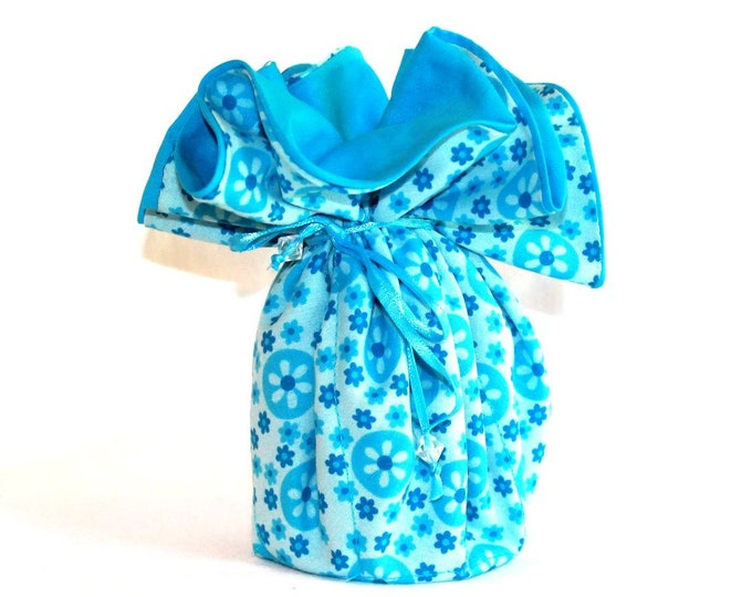 TURQUOISE FLORAL Fabric Jewelry Organizer ~ Pouch ~ Storage Case ~ Bag ~ Tote - Bell Art Designs ~ Large JBLG0071