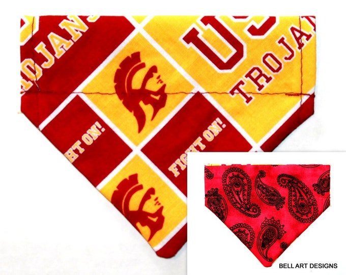 DOG BANDANA, Trojans ~ Over the Collar ~ Reversible ~ Bell Art Designs ~ Extra Extra Small DCXXS257