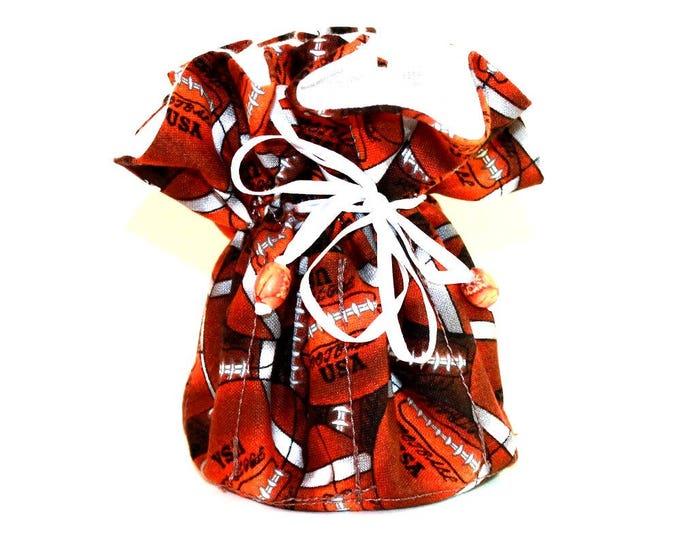 FOOTBALLS Fabric Jewelry Organizer ~ Pouch ~ Storage Case ~ Bag ~ Tote - Bell Art Designs  JBMD0147