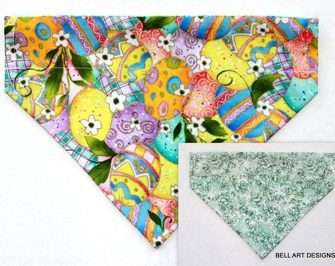 DOG BANDANA ~ Over the Collar ~ Reversible ~ Easter Eggs ~ Bell Art Designs ~ Medium ~ DCM0737