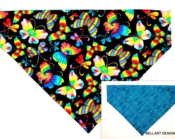 Butterfly, Butterflies, Over the Collar ~ Reversible ~ Dog Pet Bandana ~ Bell Art Designs ~ Large DCL752