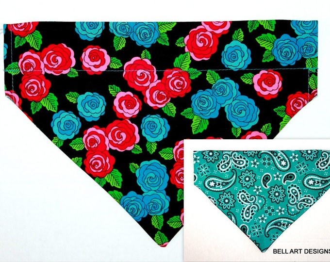Floral, Over the Collar ~ Reversible ~ Dog Pet Bandana ~ Bell Art Designs ~ Large DCL761