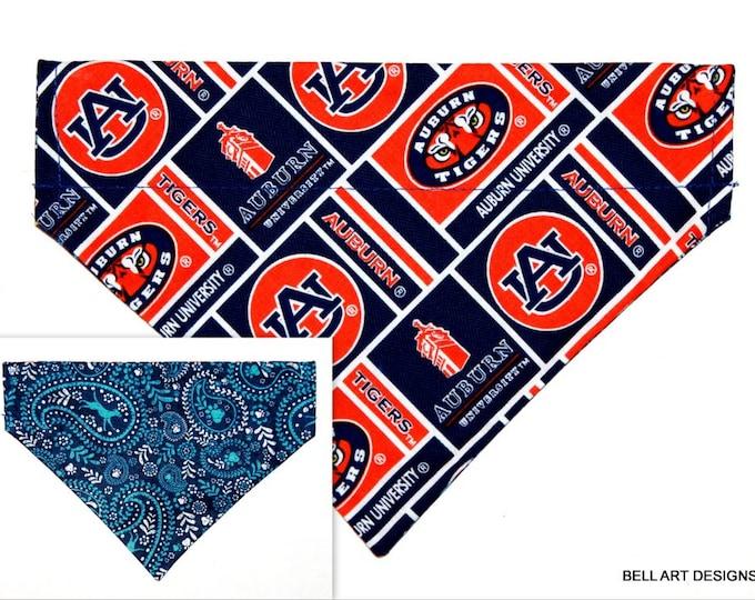 DOG BANDANA ~ Auburn, Tigers, Over the Collar ~ Reversible ~ Bell Art Designs ~ Medium ~ 804