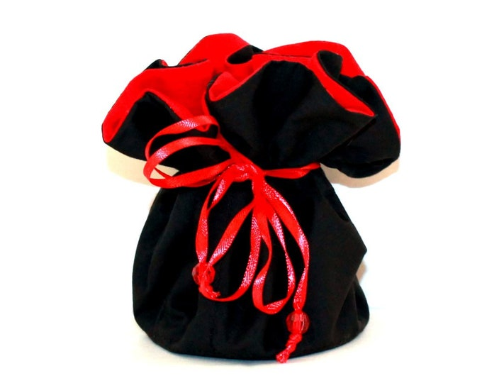 BLACK AND RED, Fabric, Jewelry Organizer ~ Pouch ~ Storage Case ~ Bag ~ Tote - Bell Art Designs ~ Medium 426